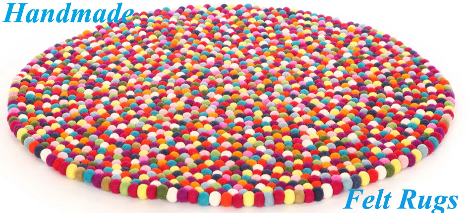 Handmade Felt Balls Rug