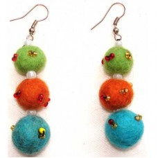 Beaded Round Ball Felt Ear Rings