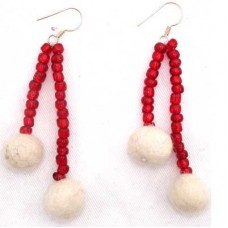 Felt Long Bead With Ball Ear Ring