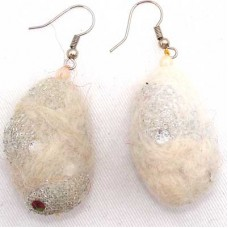 Felt Egg shape Ear Rings
