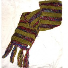 Woolen Hand knit Scarf with silk Lining