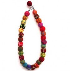 Felt Balls Necklace With Knited