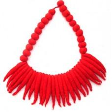 Felt Handmade chilly & Round Balls necklace