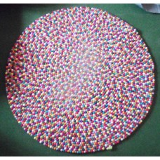 140cm felt balls rug in Multicolor