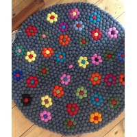 100cm felt ball rug in Black with flower