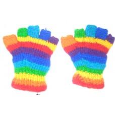 Woolen Half Gloves n Rainbow