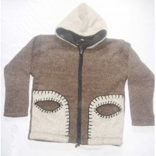 Woolen Eye Pocket Hooded Jacket