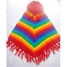 Rainbow Color Woolen Ponchos