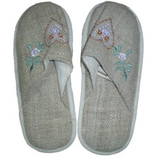 Hemp SlipperWith Heart with Flower On Front