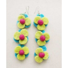 Felt Many Flowers Ear Rings
