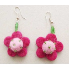 Flowers beaded Balls Ear Rings