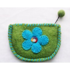 Felt Crochet Flower Half Circle Purse