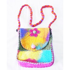Felt Crochet Folded Tiedye  Bag