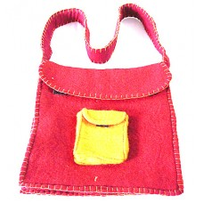 Outside Pocket Crochet Felt Bag