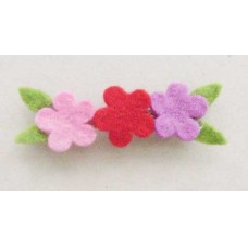 Felt 3 Flower Leaf Hair Clip