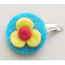 Felt Flower & Circle Clip