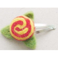 Felt Cherry Flower Leaf Hair Clip