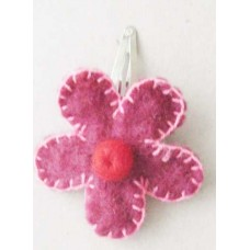 Crochet 1 Flower Felt GHair Clip
