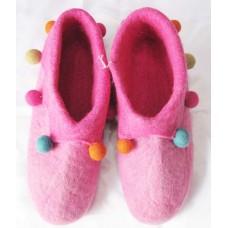 Felt Folding Shoes With Pom-poms
