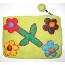 Felt Flower Crochet Purse