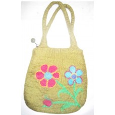 Felt flowers Double handle bag