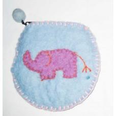 Felt Heart Elephant Crochet Purse