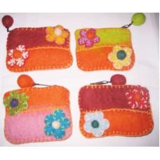 Felt Crochet 2 side flower Purse