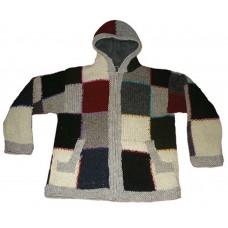 Patch hooded Woolen Jacket
