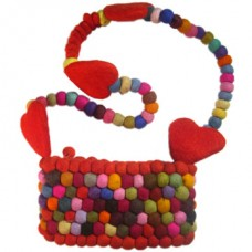 Felt Balls Bag With heart & Balls Handle