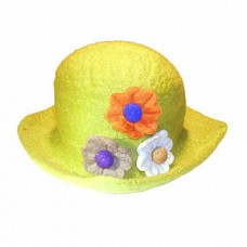Three Flower Round Felt Hat