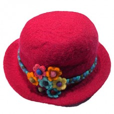 Felt Hats With Flower With Rope Binded