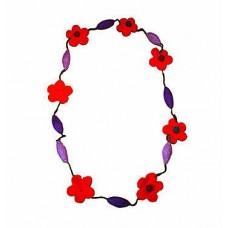 Wool Flower & egg shpe balls necklace