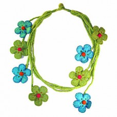 Felt Rope Flowers Necklace