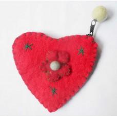 Felt heart design flower purse
