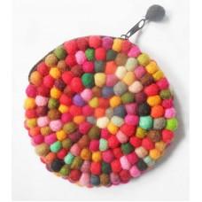 round felt balls purse