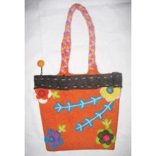 Gamala Crochet Flower Felt Bag
