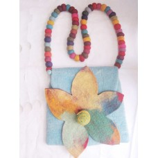 Folding Tiedye Felt Flower Bag