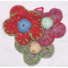 Felt Crochet 3 flower hairband