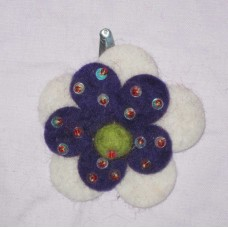 Felt beads 2 Flower Hairclip