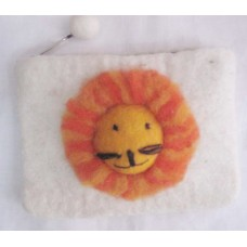 Lion Design Felt Coin Purse
