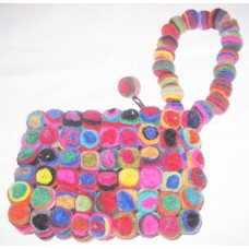 Felt Cherry Balls Handle Purse