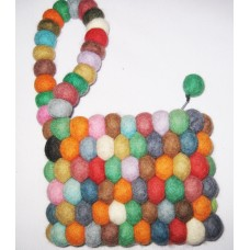 Felt Multicolor Balls Purse