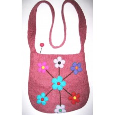 Wool Flowers with Embroidered Bag